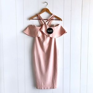 NWT Nookie Hermosa Off Shoulder Midi Dress Blush